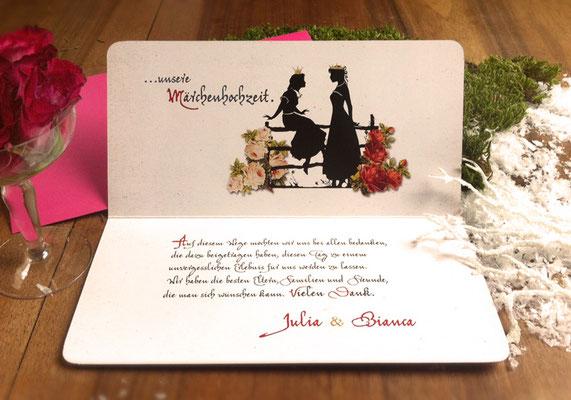 """Danksagungskarte Innenseite """"Märchenhochzeit"""" www.gleichundgleich.com"""