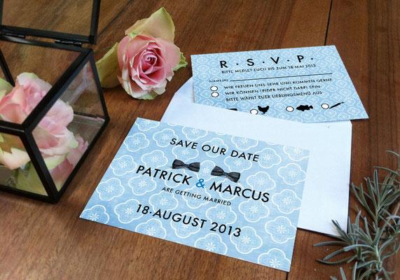 """Save The Date-Karte """"Two Married Men"""" www.ihrhochzeitsplaner.berlin"""