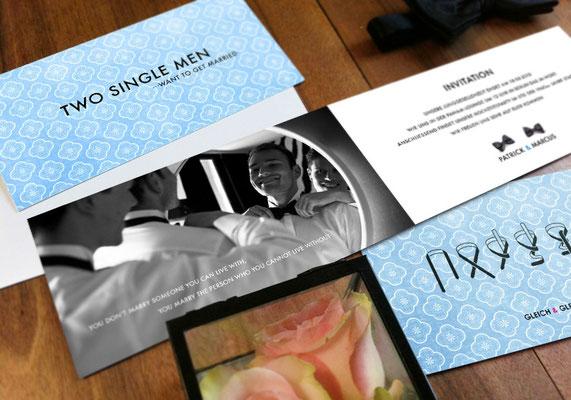 """Einladungskarte """"Two Married Men"""" www.gleichundgleich.com"""