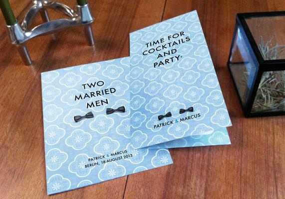 """Menü- und Cocktailkarte """"Two Married Men"""" www.ihrhochzeitsplaner.berlin"""