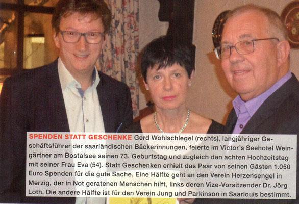 Foto der Spendenübergabe Geburtstag Gerd Wohlschlegel
