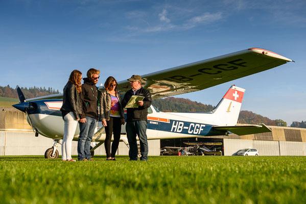 Flugvorbereitungen Luzern-Beromünster
