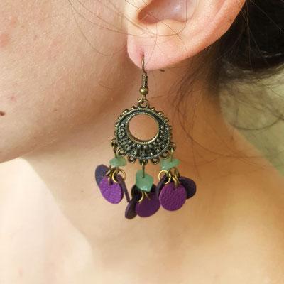 Atelier Passions Indigo : Boucles d'oreilles cuir pendantes FARANDOLE