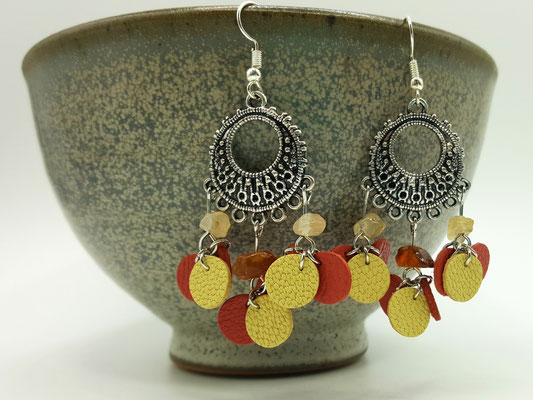 Création artisanale atelier passions indigo boucles d'oreilles FARANDOLE cuir
