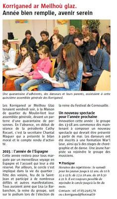 Le Télégramme  -  Lundi 12 octobre 2015