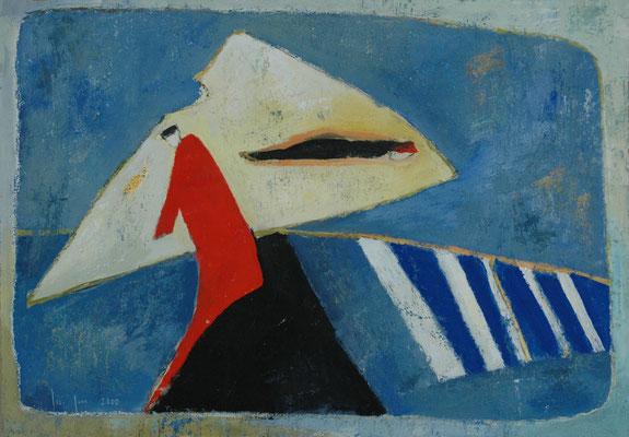"""Gina Gass, """"Rote Figuration"""", Mischtechnik auf Papier, 60x80 cm"""