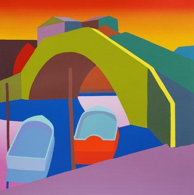 """Julia Steinberg, """"Flusslandschaft"""", Siebdruck 14/30, 50x50 cm"""