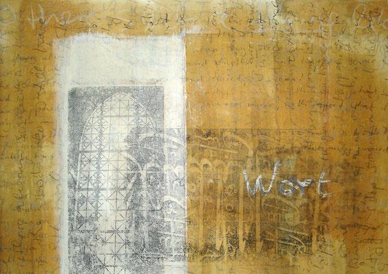 """Margit Rusert, """"Wort-Ton"""" I, Handschrift, Frottage, Öl auf Papier, 60x80 cm"""