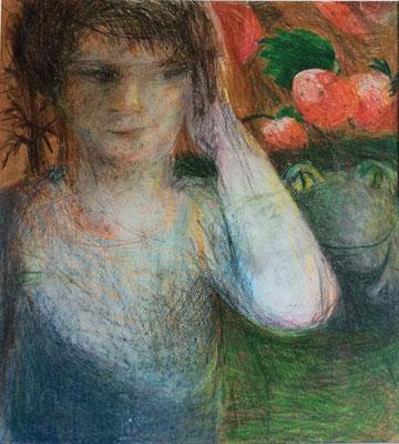 Christiane Konietzny, o.T. (Serie Mimeseschmelze), Bleistift/Buntstift, 60x50 cm