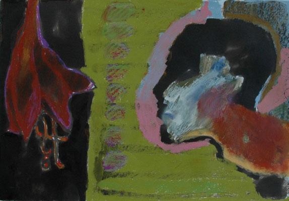 """Uwe Herrmann, """"Blüte anschauen"""", Tusche/Ölpastell, 50x65 cm"""