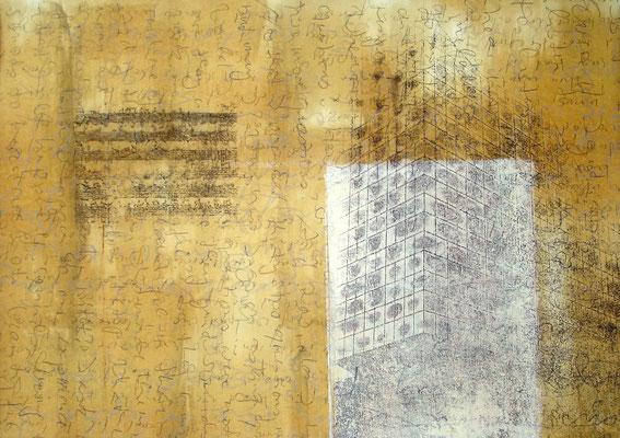 """Margit Rusert, """"Wort-Ton"""" II, Handschrift, Frottage, Öl auf Papier, 60x80 cm"""