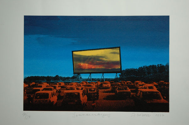 "János Nádasdy, ""Sonnenuntergang, Siebdruck 10/20 , 50x70 cm"