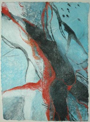 """Claudia von Rohr, """"Bewegung II"""", Mischtechnik auf Bütten,  60x50 cm"""