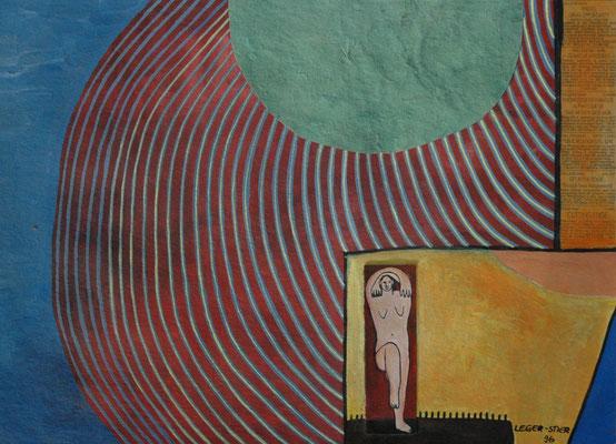 """Esther Leger-Stier, """"Tanzende Mondgedanken"""",  Gouache auf Papier,  40x50 cm"""