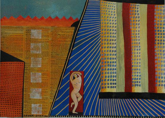 """Esther Leger-Stier, """"3 ist einer zuviel"""",  Gouache/Collage auf Papier,  40x50 cm"""