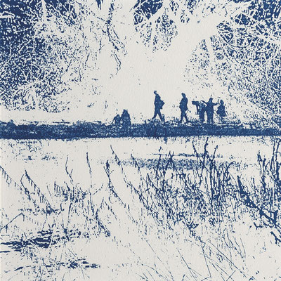 """Christine Steyer, """"Auf der Suche nach der blauen Blume I"""", Cyanotypie, 14,5 x 14,5 cm"""
