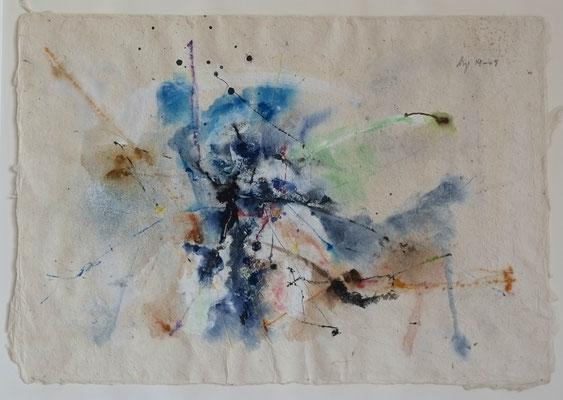 "Andreas Spengler, ""14-09"", Gouache/Tusche auf Seidelbast, 50x70 cm"