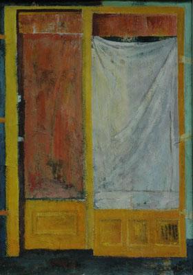 "Gina Gass, ""Verhangenes Fenster"", Mischtechnik auf Papier, 100x70 cm"