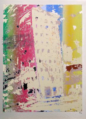 "Stefan Lang, ""Gehry Tower -Irisdruck"", Siebdruck (Unikat), 70x50 cm"