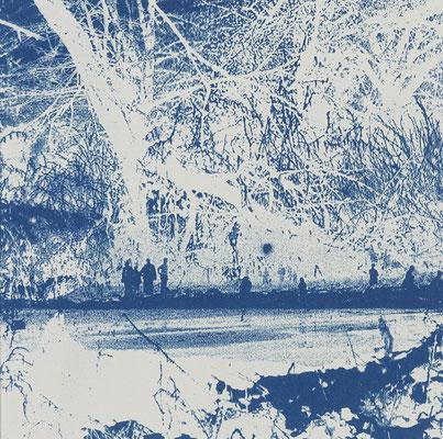 """Christine Steyer, """"Auf der Suche nach der blauen Blume II"""", Cyanotypie, 14,5 x 14,5 cm"""