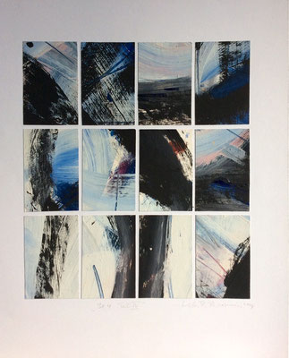 """Katrin R. Tavernini,  """"3x4 Teil IV"""",  Ölfarbe/Karton collagiert, 60x50 cm"""