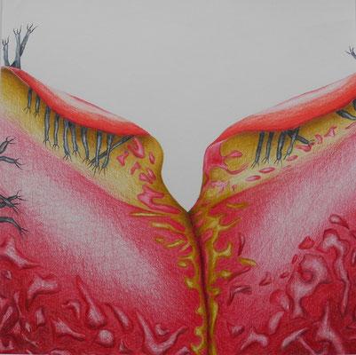 """Inge Marion Petersen, """"Fragmente XI"""",  Farbstifte auf Papier, 50x50 cm"""