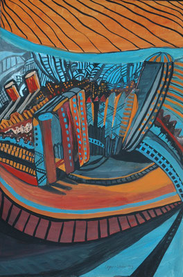 "Esther Leger-Stier, ""Häuser II"",  Mischtechnik, 80x60 cm"
