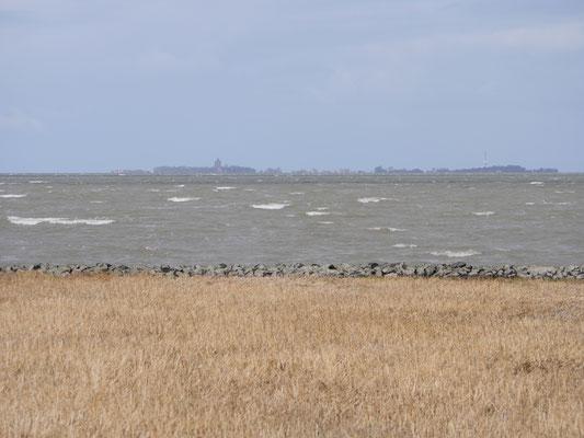 Die Aussicht auf die Insel Neuwerk aus der Ferienwohnung Nr. 13 der Residenz Windjammer