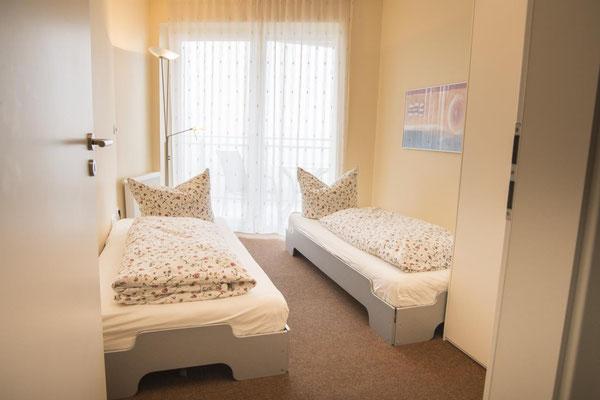 Strandpalais Duhnen Ferienwohnung Nr 20 - Der zweite Schlafraum mit Meerblick