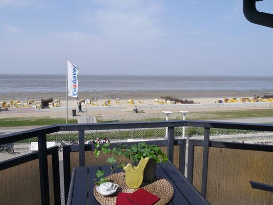 Der Balkon mit Meerblick in der Residenz Meeresbrandung
