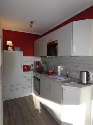 Die moderne Küchenzeile in der Ferienwohnung