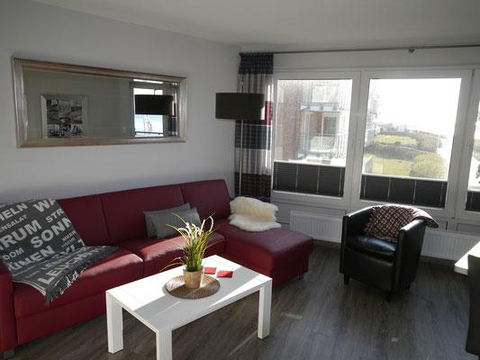 Das gemütliche Ledersofa der Ferienwohnung in Cuxhaven Duhnen