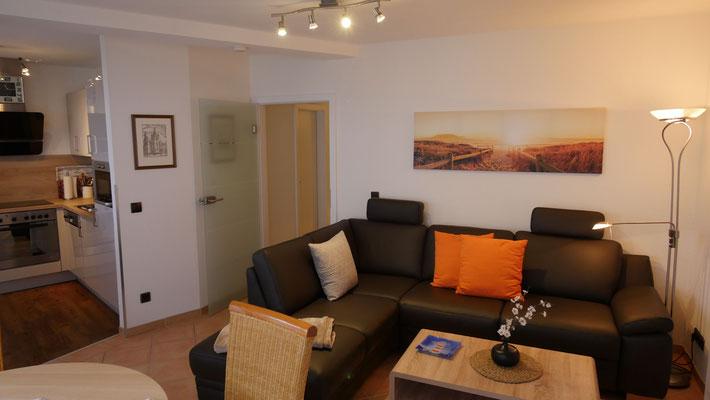 Das hochwertige Sofa der Ferienwohnung