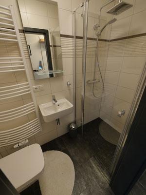 Das Gäste-WC mit Dusche in der Ferienwohnung Nr. 13 Residenz Windjammer