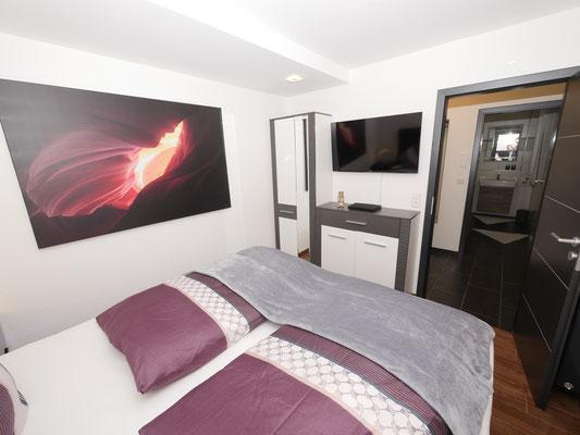 Das zweite Schlafzimmer in der Ferienwohnung Nr. 13 Residenz Windjammer