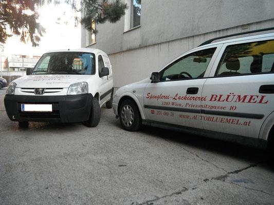 Reperaturersatzfahrzeug Peugeot für Werkzeug-Transport und Opel Astra für Hundebesitzer