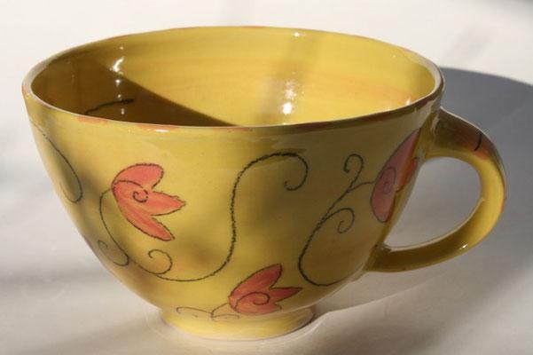 """Milchkaffeetasse """"Tulpe"""" gelb Artikelnummer 1705  /    22 €"""
