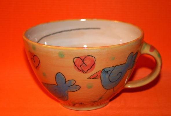 """Milchkaffeetasse """"Vögelchen"""" orange Artikelnummer 1715 /   22 €"""