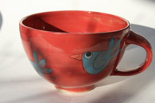 """Milchkaffeetasse """"Vogel"""" rot Artikelnummer 1701  /      22 €"""