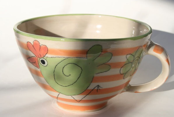 """Milchkaffeetasse """"Hühnchen"""" orange gestreift Artikelnummer 1702  / 22 €"""