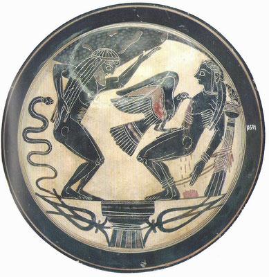 """""""La punition d'Atlas et de Prométhée"""" - Peinture sur vase - 550 avant J-C Musée de la Cité du Vatican"""