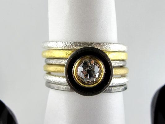 Zusammensteckringe, prächtiger Altschliff-Diamant, 900/ + Feingold, Silber, Palladium