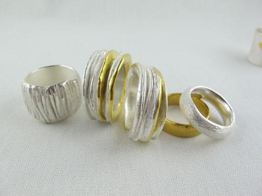 Ringe , Silber + Feingold