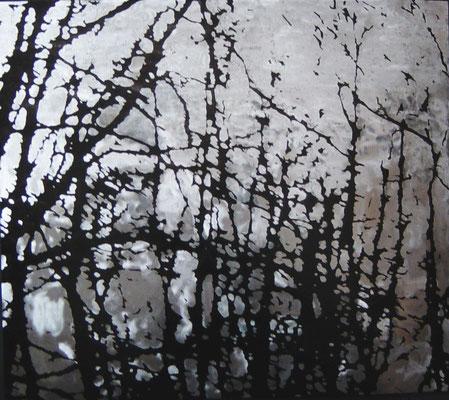 """""""branches"""", 2004, 100x88cm, Stahlblech geschliffen, Transparentfarbe"""