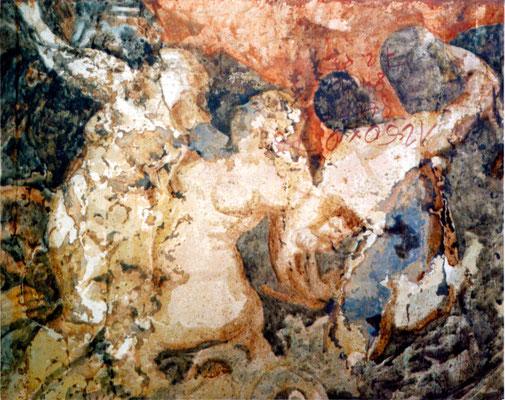"""""""badende"""", 2002, 87x69cm, Stahlblech geschliffen, Transparentfarbe, Rost"""