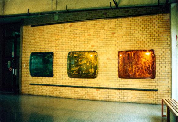 Diplomausstellung, 1995, Hochschule für Angewandte Kunst, Autodächer, Metallschliff, Transparentfarbe, Einbrennlackeirung