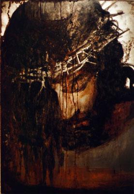 """""""Jesus"""", 90x125cm, Transparentfarbe, Rost, Stahl geschliffen, 2003"""