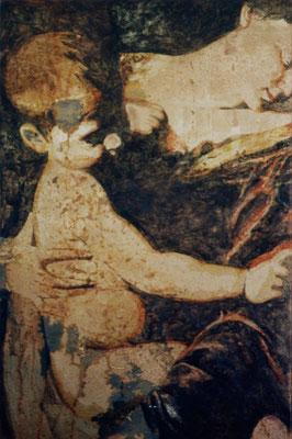 """lost for a minute"", 94x53cm, Transparentfarbe, Rost, Stahl geschliffen, 2002"