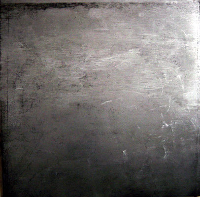 """you can only heal with cold steel"", 2002, 100x100cm, Stahlblech geschliffen"