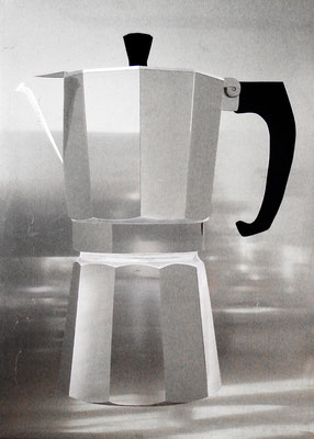 """""""espressomachin"""", 70x100cm, Aluminium geschliffen, Transparentfarbe, 2007"""
